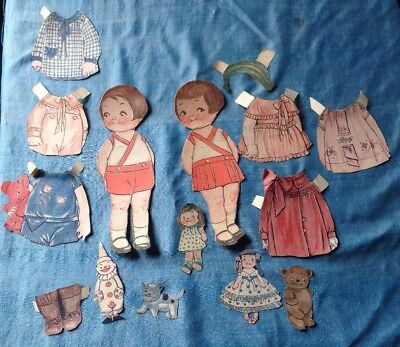 vintage 1920's Dolly Dingle Paper Dolls nicely cut from magazine w toys dolls