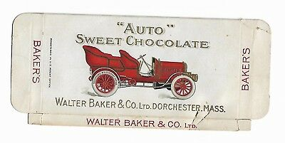 Old Advertising Cardboard Box Auto Sweet Chocolate Walter Baker Dorchester MA