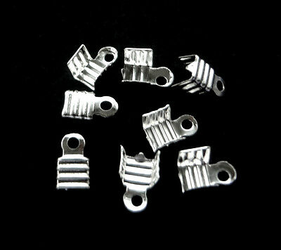 Free Shipping 100cs Silver Plated FOLDING TAIL END CRIMP Beads 7.5X5mm 2JP-S