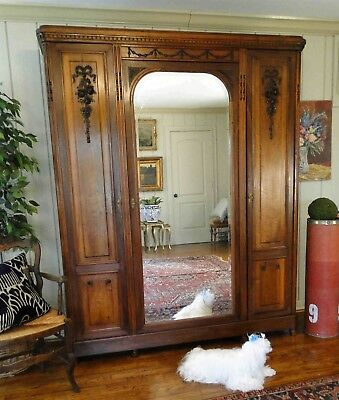 Antique French Armoire Wardrobe Large Beveled Mirror 3 Door Walnut Floral Carve