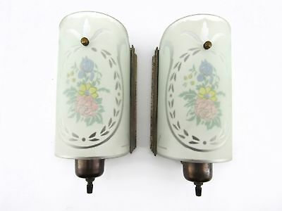 Vintage Pair Art Deco Reverse Painted Globe Wall Sconces