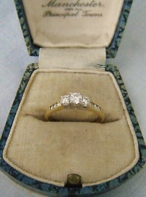 A Good Quality Fully Hallmarked 750 - 18ct Gold Diamond Trilogy Style Ring.!