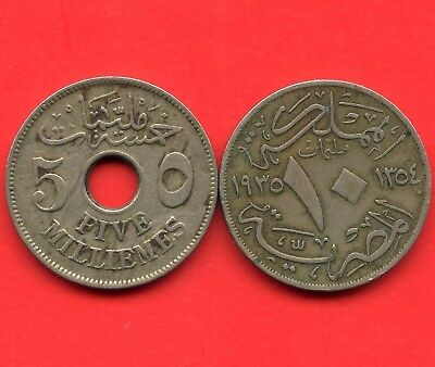 Egypt 1917 5 Mill & 1930 10 Mill Coins