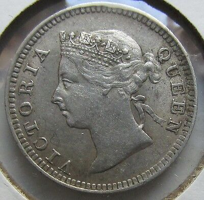 STRAITS SETTLEMENTS Malaysia British Colony 1900 Silver 5 Cents Victoria