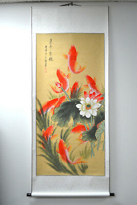 "New Asian Chinese Scroll Painting Koi Fish Home Decor Feng Shui 69.50""L x 31""W"