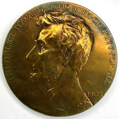 1909 Abraham Lincoln 100th Anniversary of Birth GAR large bronze medal