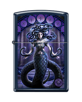 Zippo 2920, Anne Stokes-Medusa-Snakes, Navy Blue Matte Finish Lighter