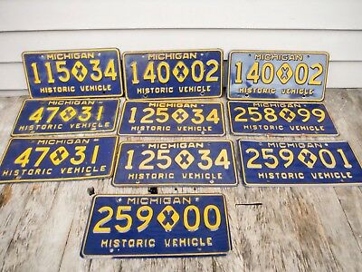 Lot Of 10 Michigan Historic Vehicle Vehicles License Plates Nice Nr Auction!