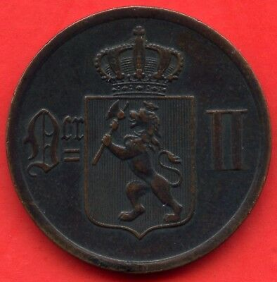 1897 Norway 2 Ore Coin