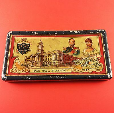 Antique 1908 Faulder's Chocolate Tin Stockport Great Britain 148 mm x 77 x 13