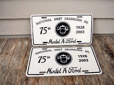 Pair Of Model A Ford Car National Meet Dearborn Michigan License Plates 75Th