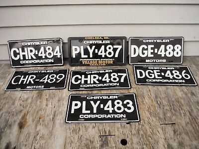 Lot Of 7 Chrysler Corporation License Plates For New Cars Dodge Neat Nr!