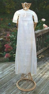 "Beautiful Vintage Panel Cotton Christening Gown or Baby Doll Dress 41"" Long"