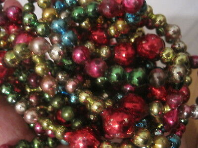 "Vintage Christmas Mercury Glass Beads Garland Multi Color 128"" Made In Japan"