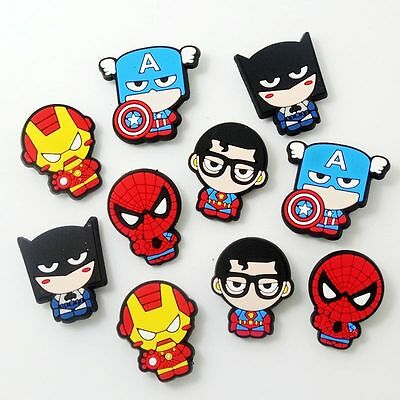 10pcs Cartoon Super Hero Shoe Charms For Croc Jibbitz Wristbands Party Gifts