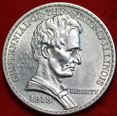 Uncirculated 1918 Phil Mint Illinois Lincoln Silver Comm Half Dollar Free S/H