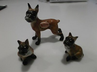 Vtg Mid Century Miniature Bone China Set Of 3 Boxer Dog Figurines~Orig Label