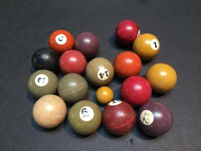 Collection of 17 Miniature Painted Bakelite Pool Balls