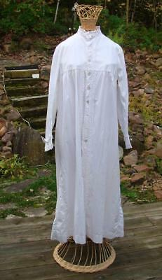 Antique Hand Sewn Cotton Victorian or Edwardian Lady's Night Shirt Sleep Gown