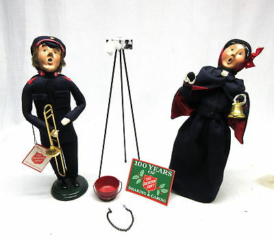 Byers Choice The Carolers Salvation Army Lot of 2 with Stand and Bucket