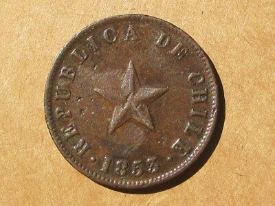 Chile 1853 Copper 1 Centavo Coin KM#127