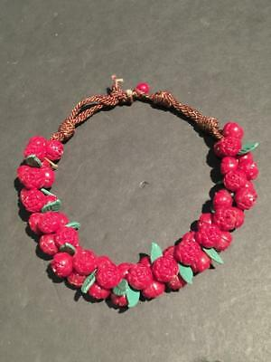 Vintage Carved Maroon Celluloid Flower Bead Necklace