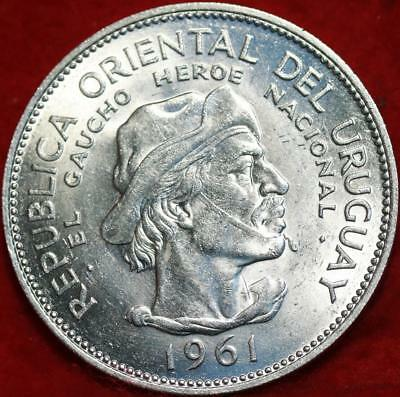 Uncirculated 1961 Uruguay 10 Pesos Silver Foreign Coin Free S/H