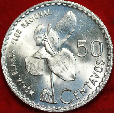 Uncirculated 1963 Republic of Guatemala 50 Centavos Silver Foreign Coin Free S/H