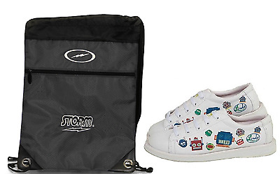 Youth Boys Linds White Bot Bowling Ball Shoes & Drawstring Backpack Sizes 3 - 5