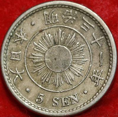 Yr31 (1898) Japan 5 Sen Foreign Coin Free S/H