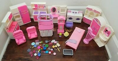 Barbie Doll House Furniture Lot Bathroom Kitchen Bedroom-Light Up-Working Washer