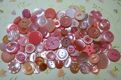 """100 Shades of Pink Buttons~Mixed Age~7/8"""" and Less~2H~4H~Shanks~Clean (K34)"""