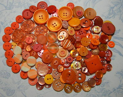 Lot of Orange Buttons~Mixed Materials~Most are Smaller Sizes~10 Glass (A72