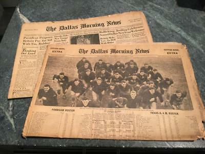 Dallas Morning News - January 1,1941 Cotton Bowl Fordham Texas A&M