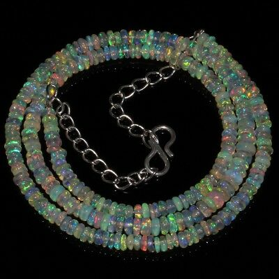40 Ct Natural Ethiopian Welo Fire Opal Smooth Rondelle Plain Beads Necklace 8275