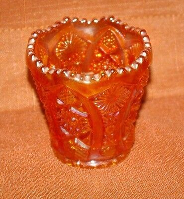 Carnival Marigold Imperial Glass Toothpick Holder Saw Tooth Rim Beautiful