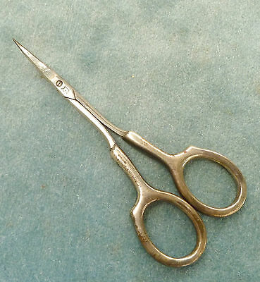 R Wallace & Son Small Sterling Handle Scissors Antique