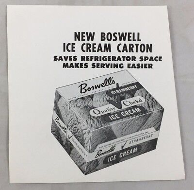 Vintage Advertising Print Cut Design Boswell Ice Cream Dairy Fort Worth Texas