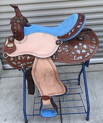 """16"""" New Leather Roughout Pleasure Western Saddle With Turquoise Inlay  FQB!!"""