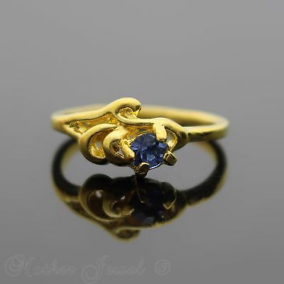 Pretty Petite Yellow Gold Plated Light Blue Womens Floral Pattern Ring Size 4.5