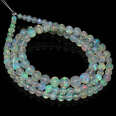 29 Crt Natural Ethiopian Welo Fire Opal White Round Balls Beads Necklace 93
