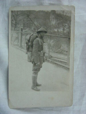 Vintage Photo WWI Army Soldier in Uniform & Equipment Pack 816