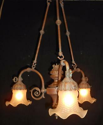Large Victorian Style Bronzed Painted 3 Light Chandelier - Glass Globes -Working