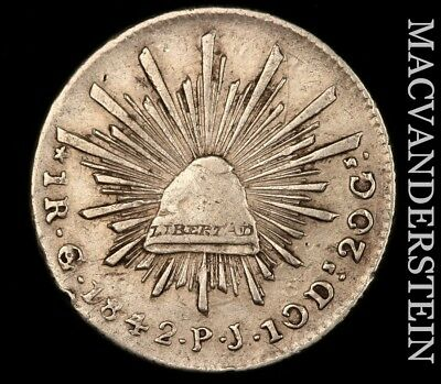 MEXICO (FIRST REPUBLIC): 1842-Go;PJ ONE REAL - SCARCE!!  BETTER DATE!!  #V8600