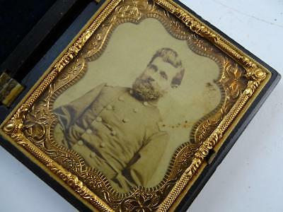 Antique Civil War CDV Civil War Era Colonel Photograph Soldier Wisconsin Case