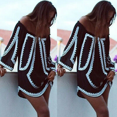 Women Summer Casual Long Sleeve Evening Party Cocktail Beach Short Mini Dress