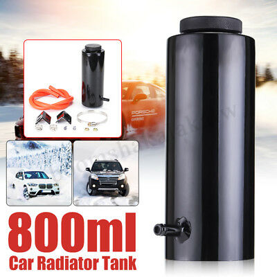 AU 800ML Black Universal Car Overflow Radiator Coolant Aluminum Catch Tank Alloy