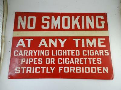 Vintage No Smoking Carrying Lighted Cigar Strictly Forgidden Antique Tin Metal