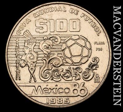 Mexico: 1985 One Hundred Pesos- Silver !! Scarce !! High Grade !! #v9744