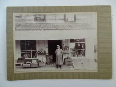 Antique CDV Quaker Oats General Store Photograph Roxbury MA Vintage 1880s Old